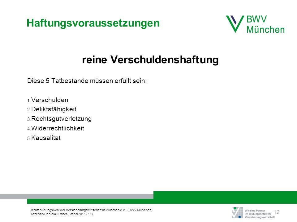 Berufsbildungswerk der Versicherungswirtschaft in München e.V. (BWV München) Dozentin Daniela Jüttner (Stand 2011 / 11) Haftungsvoraussetzungen reine