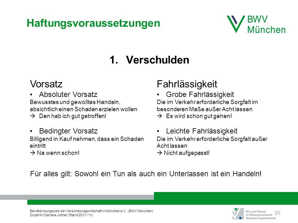 Berufsbildungswerk der Versicherungswirtschaft in München e.V. (BWV München) Dozentin Daniela Jüttner (Stand 2011 / 11) Haftungsvoraussetzungen 1. Ver