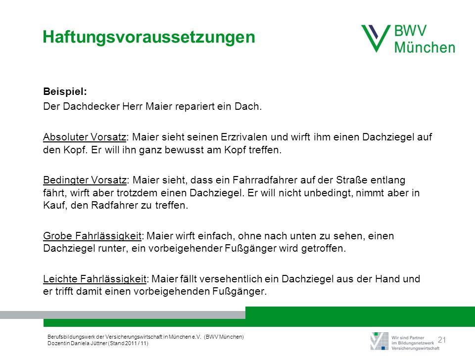 Berufsbildungswerk der Versicherungswirtschaft in München e.V. (BWV München) Dozentin Daniela Jüttner (Stand 2011 / 11) Haftungsvoraussetzungen Beispi