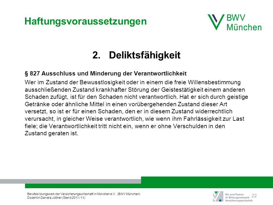 Berufsbildungswerk der Versicherungswirtschaft in München e.V. (BWV München) Dozentin Daniela Jüttner (Stand 2011 / 11) Haftungsvoraussetzungen 2. Del
