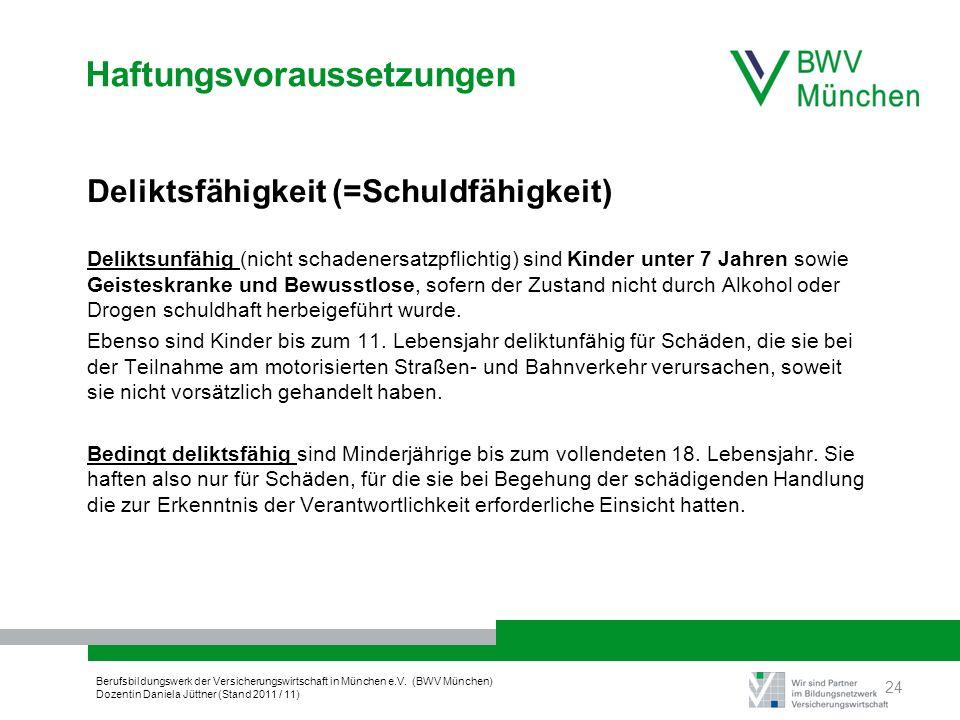 Berufsbildungswerk der Versicherungswirtschaft in München e.V. (BWV München) Dozentin Daniela Jüttner (Stand 2011 / 11) Haftungsvoraussetzungen Delikt