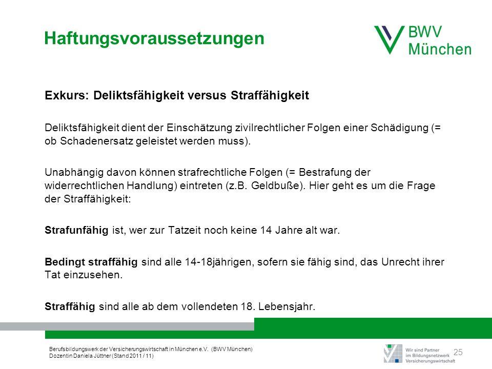 Berufsbildungswerk der Versicherungswirtschaft in München e.V. (BWV München) Dozentin Daniela Jüttner (Stand 2011 / 11) Haftungsvoraussetzungen Exkurs