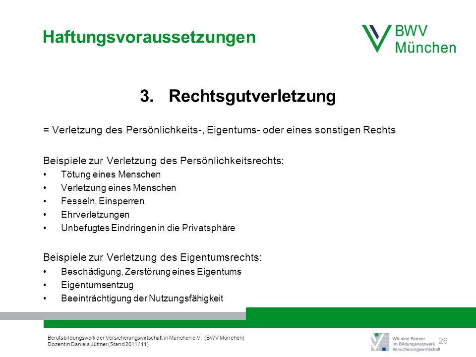 Berufsbildungswerk der Versicherungswirtschaft in München e.V. (BWV München) Dozentin Daniela Jüttner (Stand 2011 / 11) Haftungsvoraussetzungen 3. Rec