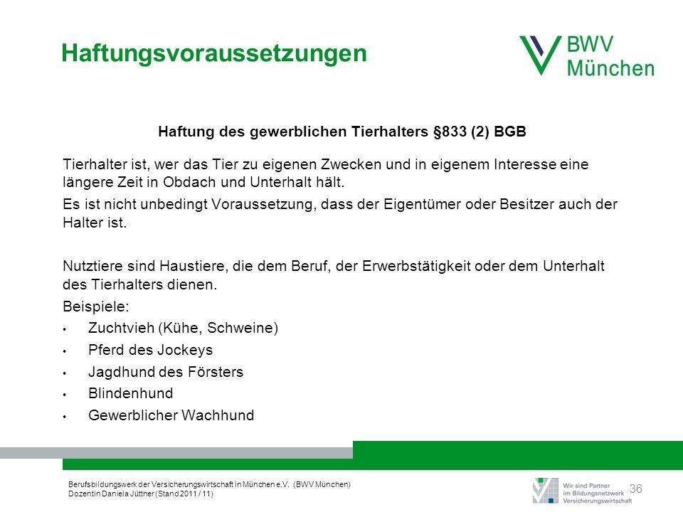 Berufsbildungswerk der Versicherungswirtschaft in München e.V. (BWV München) Dozentin Daniela Jüttner (Stand 2011 / 11) Haftungsvoraussetzungen Haftun
