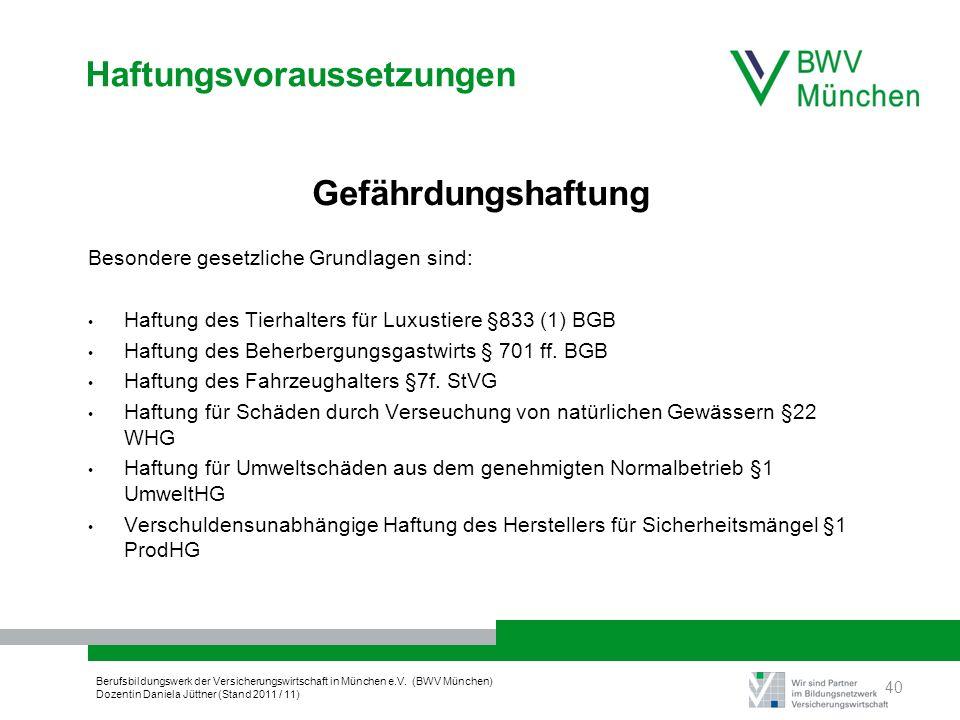 Berufsbildungswerk der Versicherungswirtschaft in München e.V. (BWV München) Dozentin Daniela Jüttner (Stand 2011 / 11) Haftungsvoraussetzungen Gefähr