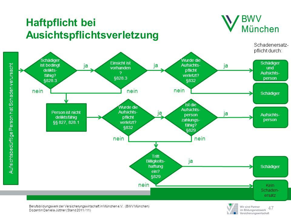 Berufsbildungswerk der Versicherungswirtschaft in München e.V. (BWV München) Dozentin Daniela Jüttner (Stand 2011 / 11) Haftpflicht bei Ausichtspflich