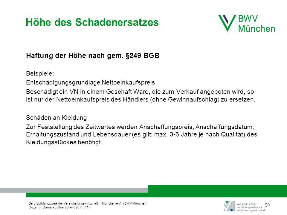 Berufsbildungswerk der Versicherungswirtschaft in München e.V. (BWV München) Dozentin Daniela Jüttner (Stand 2011 / 11) Höhe des Schadenersatzes Haftu