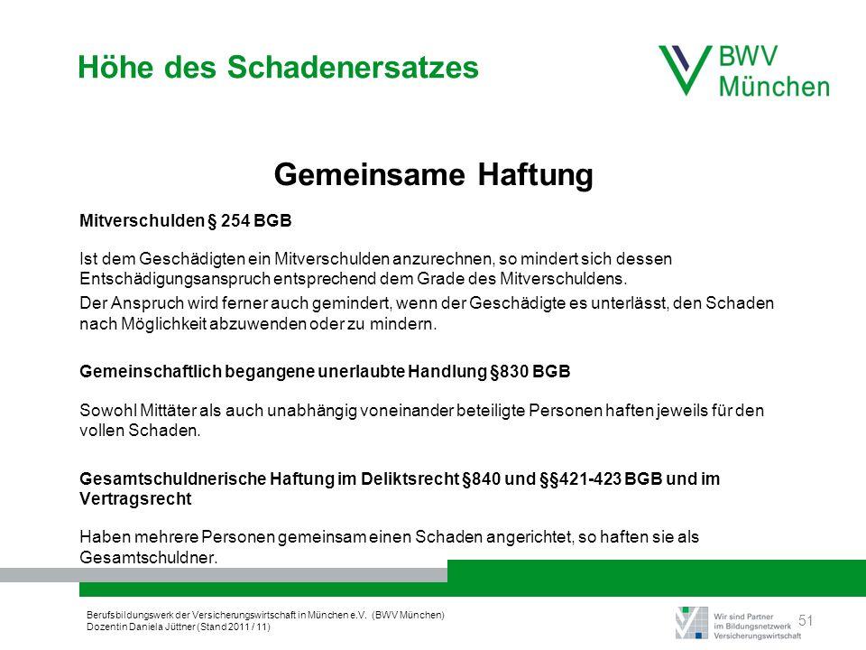 Berufsbildungswerk der Versicherungswirtschaft in München e.V. (BWV München) Dozentin Daniela Jüttner (Stand 2011 / 11) Höhe des Schadenersatzes Gemei