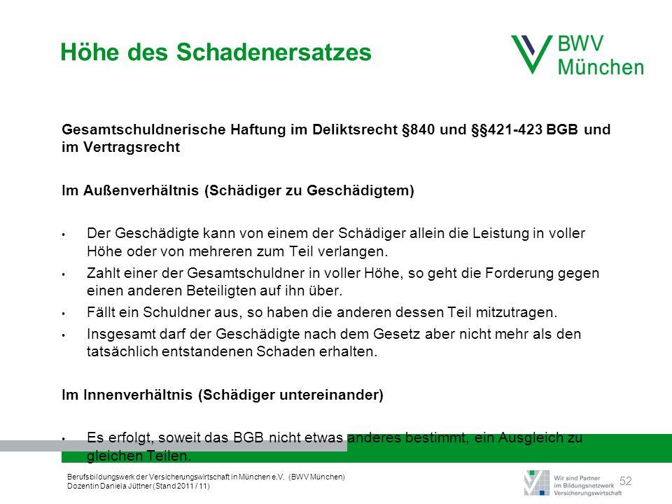 Berufsbildungswerk der Versicherungswirtschaft in München e.V. (BWV München) Dozentin Daniela Jüttner (Stand 2011 / 11) Höhe des Schadenersatzes Gesam