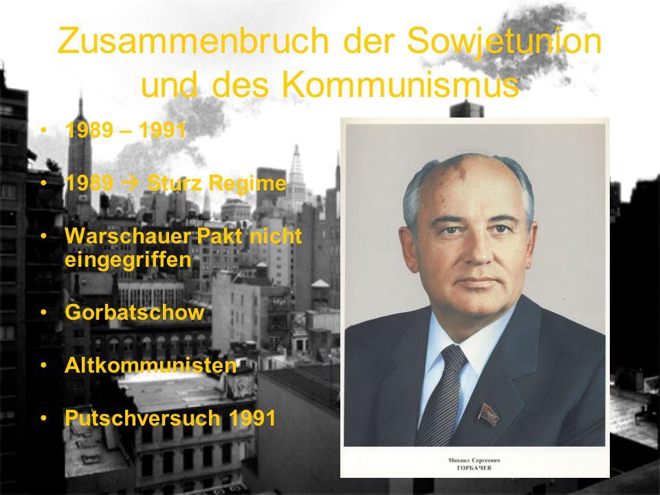 Zusammenbruch der Sowjetunion und des Kommunismus 1989 – 1991 1989 Sturz Regime Warschauer Pakt nicht eingegriffen Gorbatschow Altkommunisten Putschversuch 1991