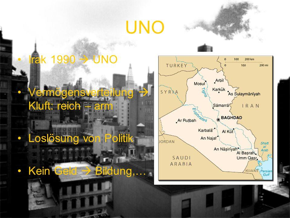 UNO Irak 1990 UNO Vermögensverteilung Kluft: reich – arm Loslösung von Politik Kein Geld Bildung,…