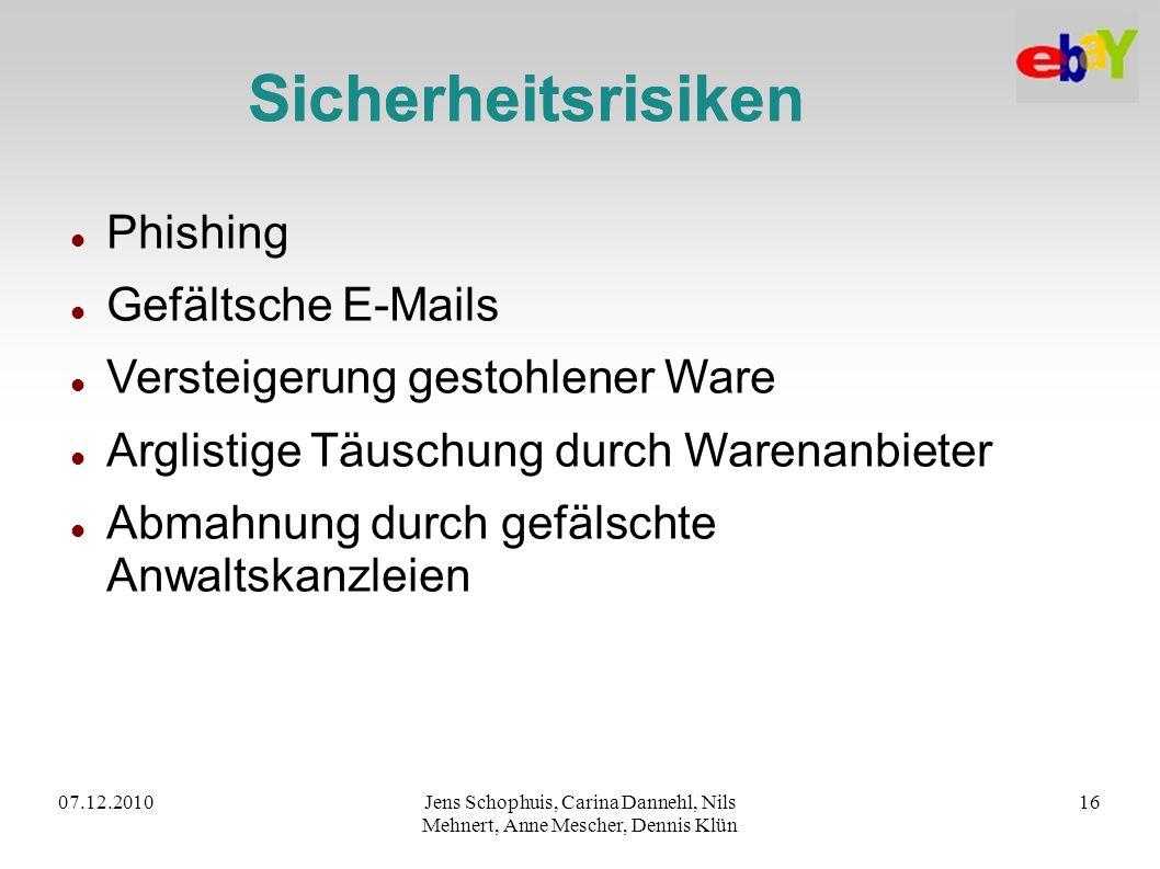 07.12.2010Jens Schophuis, Carina Dannehl, Nils Mehnert, Anne Mescher, Dennis Klün 16 Sicherheitsrisiken Phishing Gefältsche E-Mails Versteigerung gest