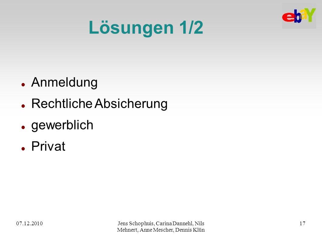 07.12.2010Jens Schophuis, Carina Dannehl, Nils Mehnert, Anne Mescher, Dennis Klün 17 Lösungen 1/2 Anmeldung Rechtliche Absicherung gewerblich Privat