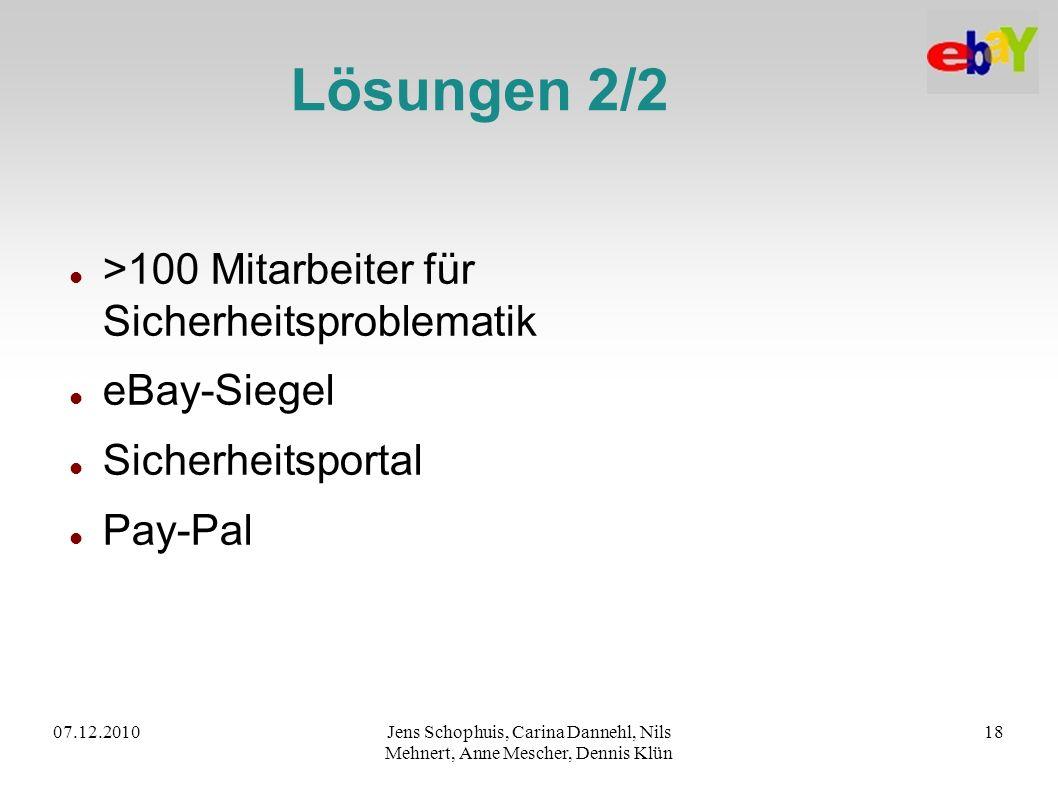 07.12.2010Jens Schophuis, Carina Dannehl, Nils Mehnert, Anne Mescher, Dennis Klün 18 Lösungen 2/2 >100 Mitarbeiter für Sicherheitsproblematik eBay-Sie