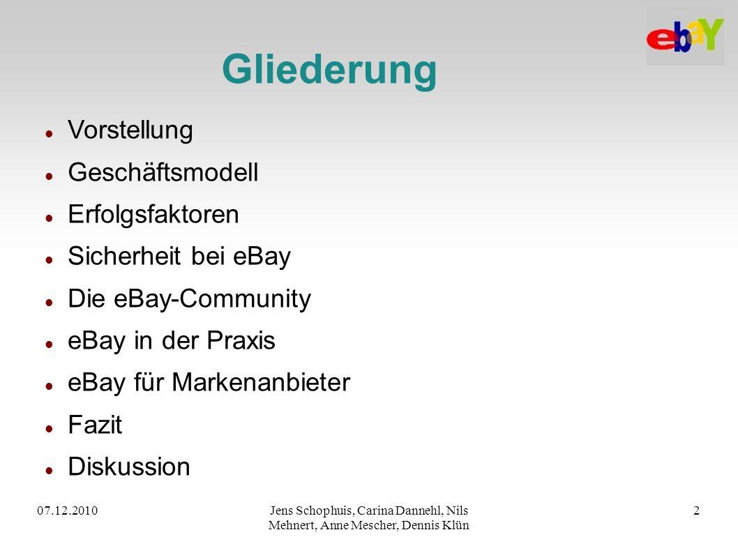 07.12.2010Jens Schophuis, Carina Dannehl, Nils Mehnert, Anne Mescher, Dennis Klün 2 Gliederung Vorstellung Geschäftsmodell Erfolgsfaktoren Sicherheit
