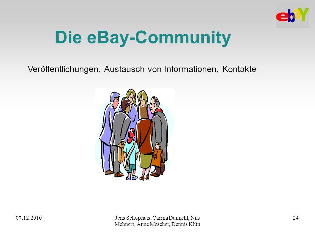 07.12.2010Jens Schophuis, Carina Dannehl, Nils Mehnert, Anne Mescher, Dennis Klün 24 Die eBay-Community Veröffentlichungen, Austausch von Informatione