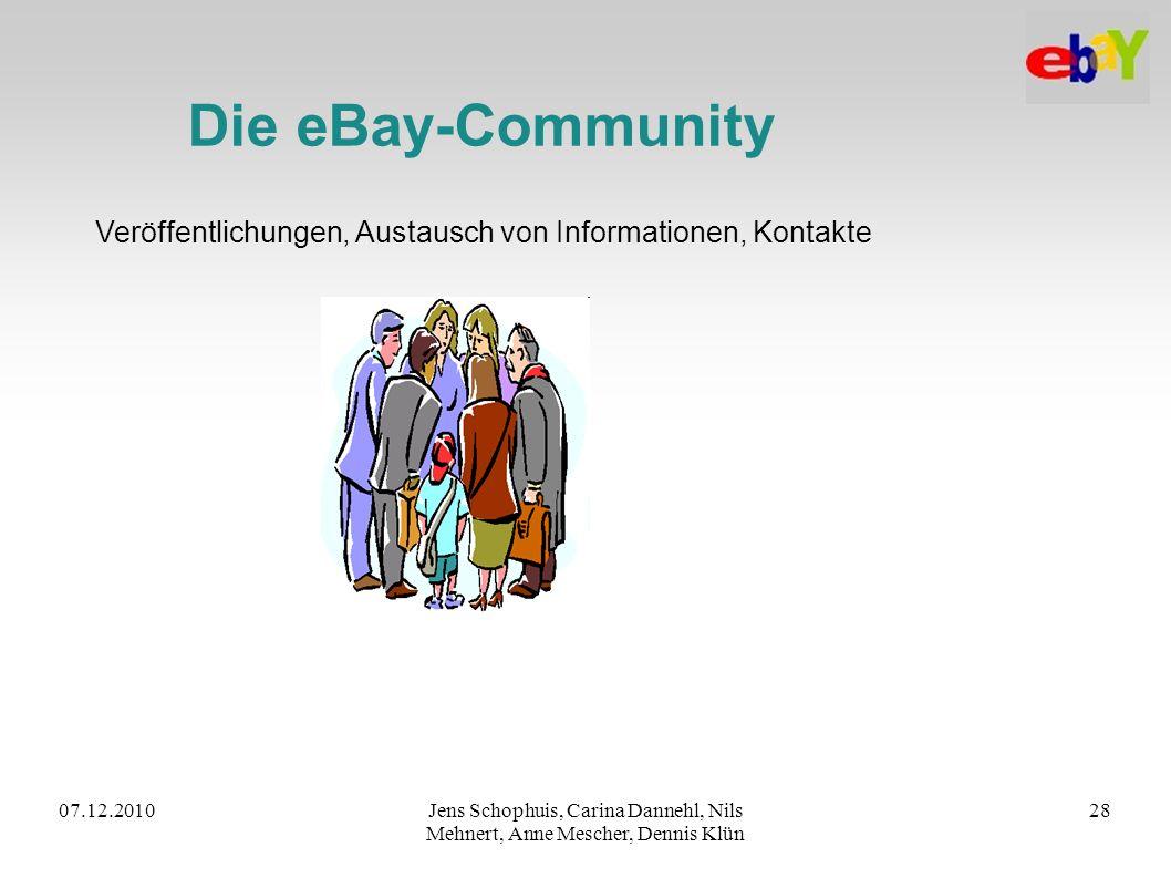 07.12.2010Jens Schophuis, Carina Dannehl, Nils Mehnert, Anne Mescher, Dennis Klün 28 Die eBay-Community Veröffentlichungen, Austausch von Informatione