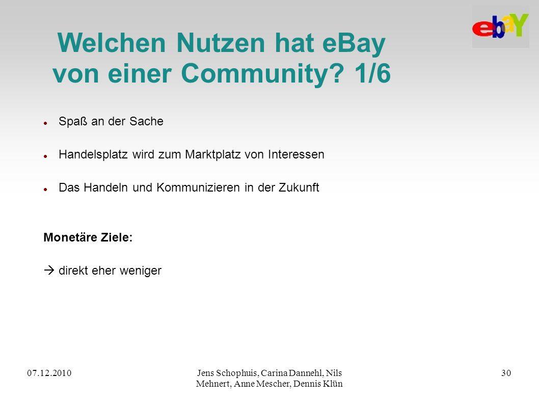 07.12.2010Jens Schophuis, Carina Dannehl, Nils Mehnert, Anne Mescher, Dennis Klün 30 Welchen Nutzen hat eBay von einer Community? 1/6 Spaß an der Sach