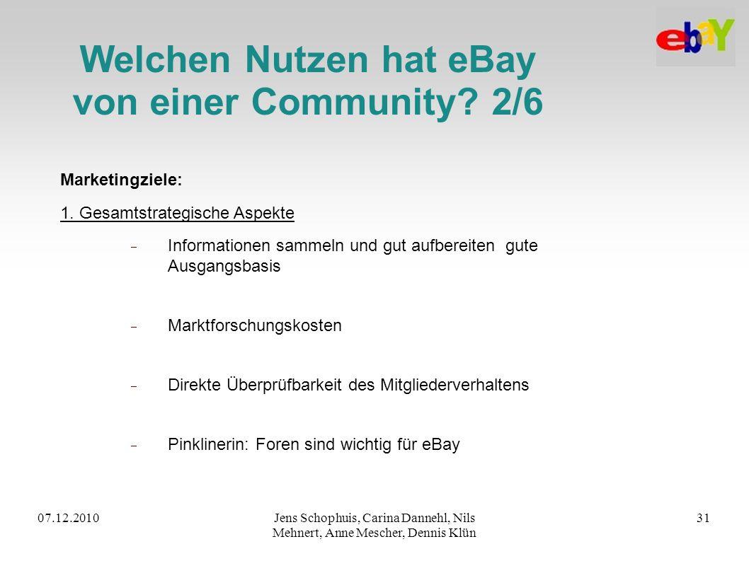 07.12.2010Jens Schophuis, Carina Dannehl, Nils Mehnert, Anne Mescher, Dennis Klün 31 Welchen Nutzen hat eBay von einer Community? 2/6 Marketingziele: