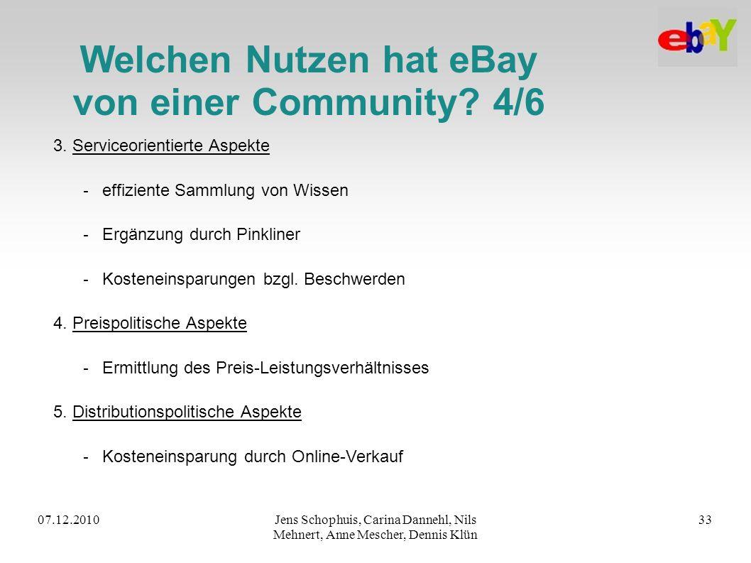 07.12.2010Jens Schophuis, Carina Dannehl, Nils Mehnert, Anne Mescher, Dennis Klün 33 Welchen Nutzen hat eBay von einer Community? 4/6 3. Serviceorient