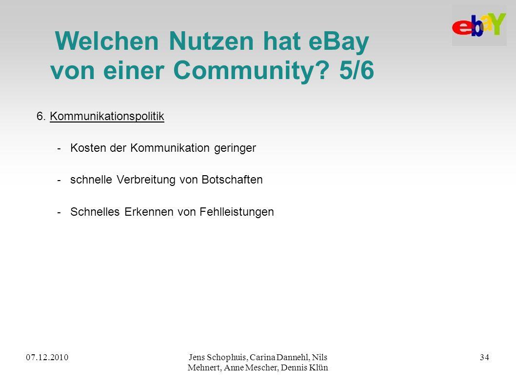 07.12.2010Jens Schophuis, Carina Dannehl, Nils Mehnert, Anne Mescher, Dennis Klün 34 Welchen Nutzen hat eBay von einer Community? 5/6 6. Kommunikation