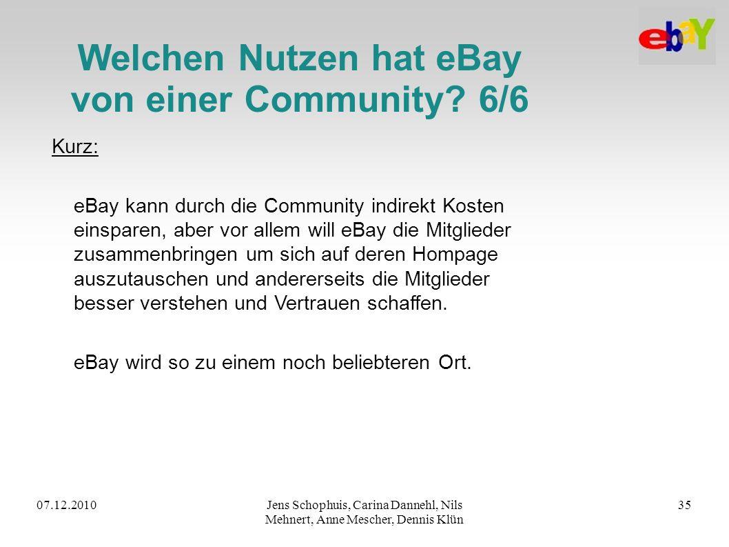 07.12.2010Jens Schophuis, Carina Dannehl, Nils Mehnert, Anne Mescher, Dennis Klün 35 Welchen Nutzen hat eBay von einer Community? 6/6 Kurz: eBay kann