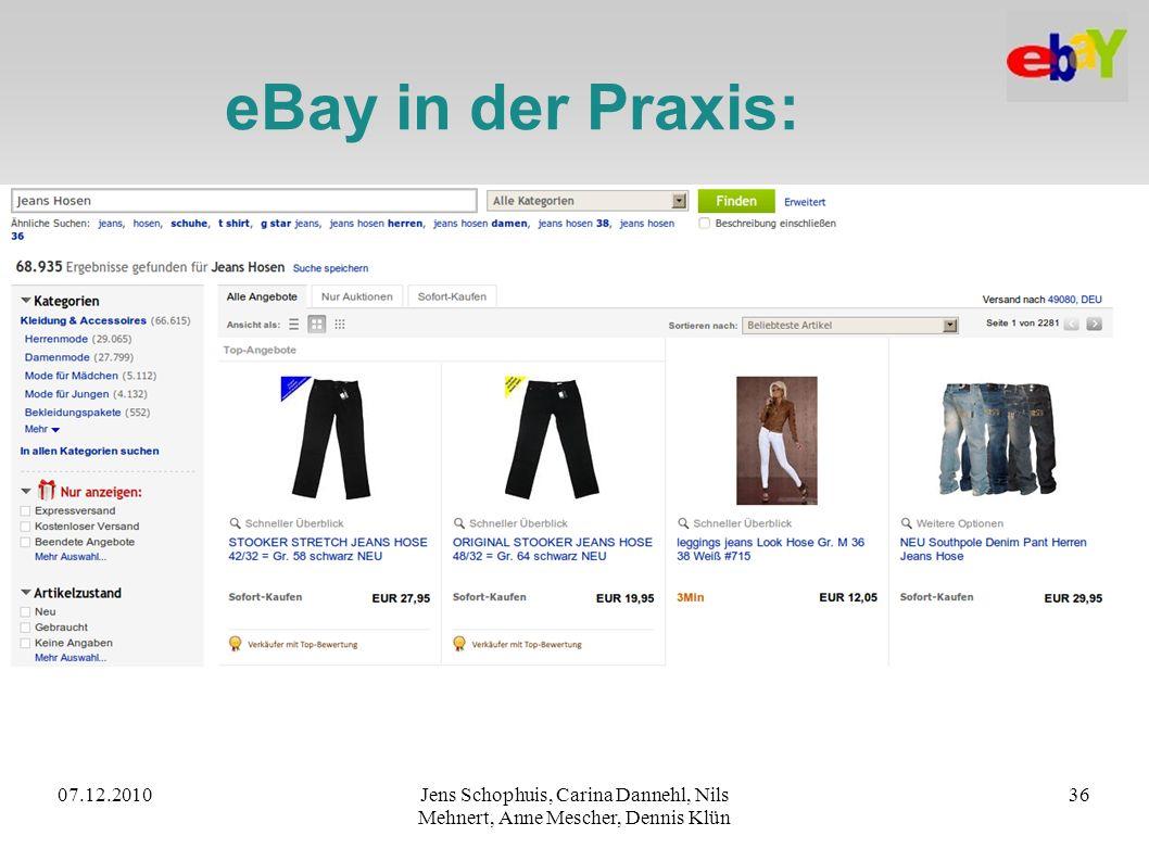 07.12.2010Jens Schophuis, Carina Dannehl, Nils Mehnert, Anne Mescher, Dennis Klün 36 eBay in der Praxis: