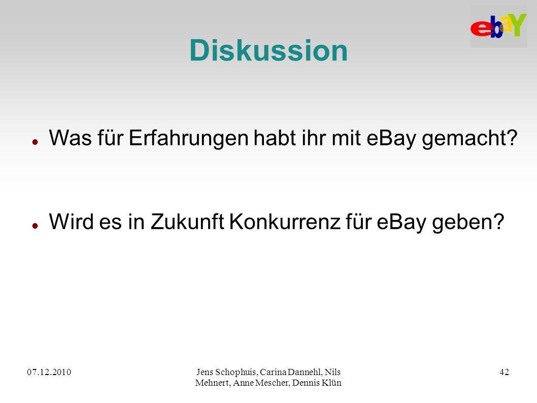 07.12.2010Jens Schophuis, Carina Dannehl, Nils Mehnert, Anne Mescher, Dennis Klün 42 Diskussion Was für Erfahrungen habt ihr mit eBay gemacht? Wird es