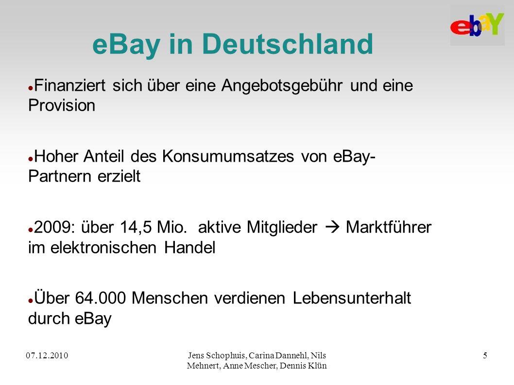 07.12.2010Jens Schophuis, Carina Dannehl, Nils Mehnert, Anne Mescher, Dennis Klün 5 eBay in Deutschland Finanziert sich über eine Angebotsgebühr und e