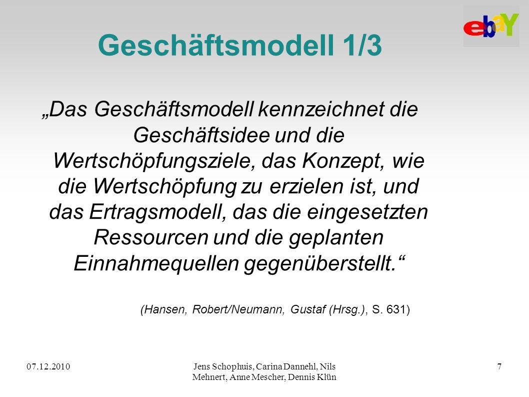 07.12.2010Jens Schophuis, Carina Dannehl, Nils Mehnert, Anne Mescher, Dennis Klün 7 Geschäftsmodell 1/3 Das Geschäftsmodell kennzeichnet die Geschäfts