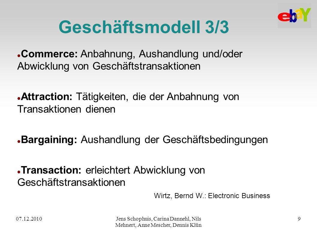 07.12.2010Jens Schophuis, Carina Dannehl, Nils Mehnert, Anne Mescher, Dennis Klün 9 Geschäftsmodell 3/3 Commerce: Anbahnung, Aushandlung und/oder Abwi