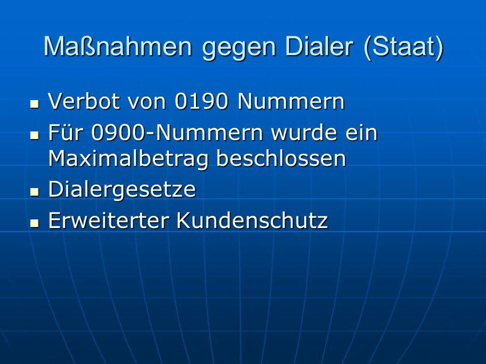 Maßnahmen gegen Dialer (Staat) Verbot von 0190 Nummern Verbot von 0190 Nummern Für 0900-Nummern wurde ein Maximalbetrag beschlossen Für 0900-Nummern w