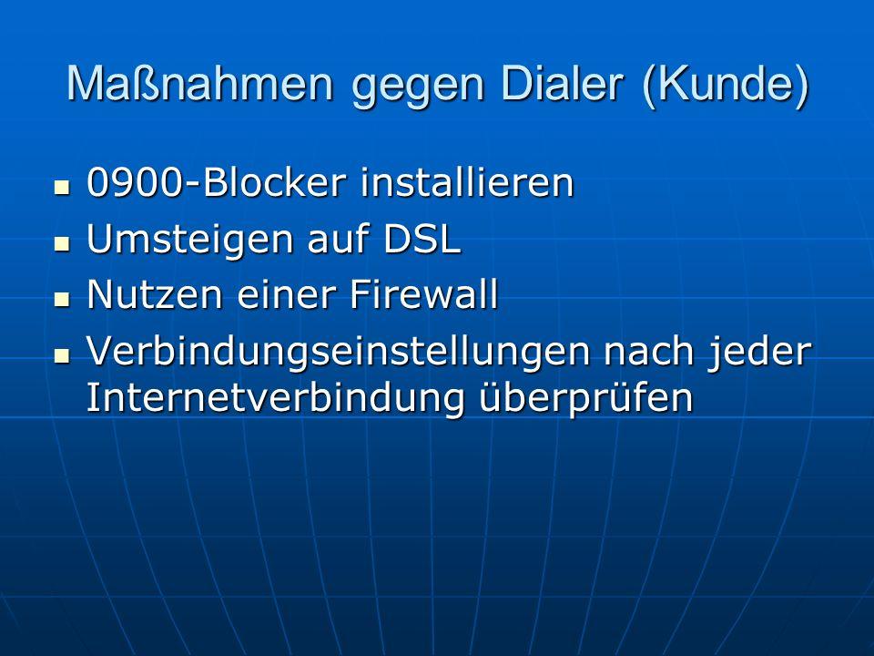 Maßnahmen gegen Dialer (Kunde) 0900-Blocker installieren 0900-Blocker installieren Umsteigen auf DSL Umsteigen auf DSL Nutzen einer Firewall Nutzen ei