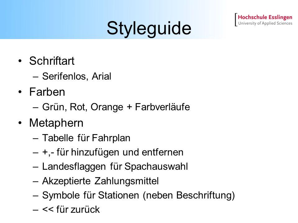 Styleguide Schriftart –Serifenlos, Arial Farben –Grün, Rot, Orange + Farbverläufe Metaphern –Tabelle für Fahrplan –+,- für hinzufügen und entfernen –L