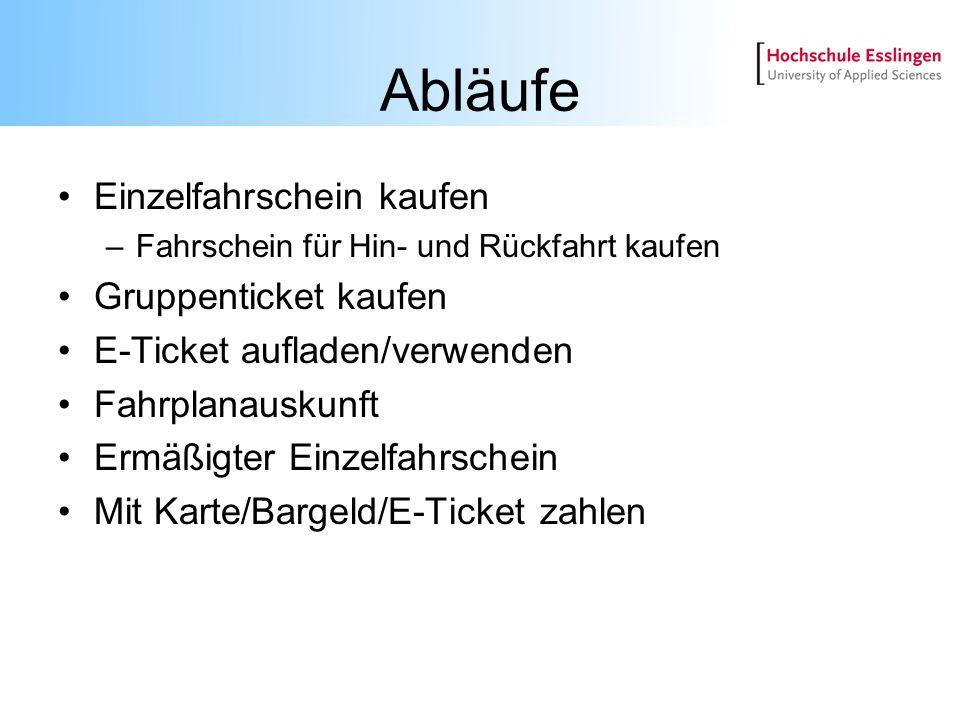 Abläufe Einzelfahrschein kaufen –Fahrschein für Hin- und Rückfahrt kaufen Gruppenticket kaufen E-Ticket aufladen/verwenden Fahrplanauskunft Ermäßigter