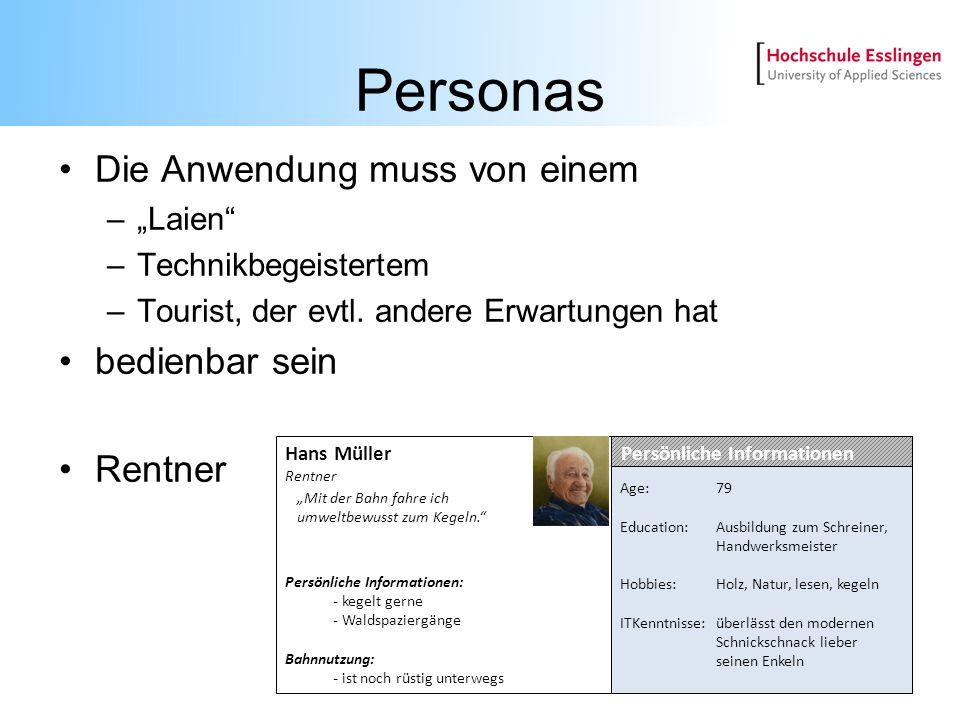 Personas Die Anwendung muss von einem –Laien –Technikbegeistertem –Tourist, der evtl. andere Erwartungen hat bedienbar sein Rentner Hans Müller Rentne