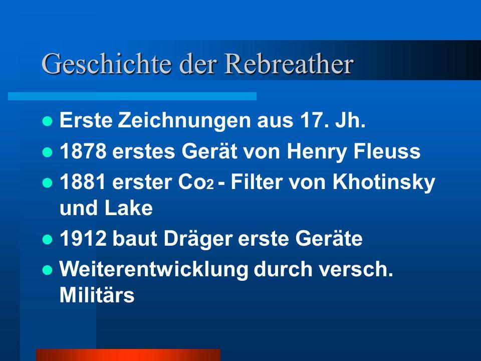 Geschichte der Rebreather Erste Zeichnungen aus 17. Jh. 1878 erstes Gerät von Henry Fleuss 1881 erster Co 2 - Filter von Khotinsky und Lake 1912 baut