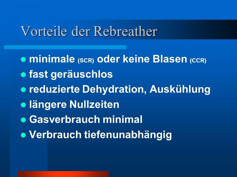 Vorteile der Rebreather minimale (SCR) oder keine Blasen (CCR) fast geräuschlos reduzierte Dehydration, Auskühlung längere Nullzeiten Gasverbrauch min