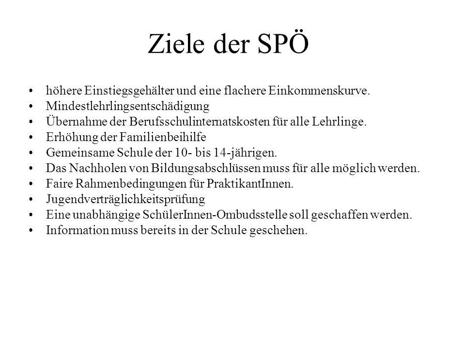 Ziele der SPÖ höhere Einstiegsgehälter und eine flachere Einkommenskurve. Mindestlehrlingsentschädigung Übernahme der Berufsschulinternatskosten für a