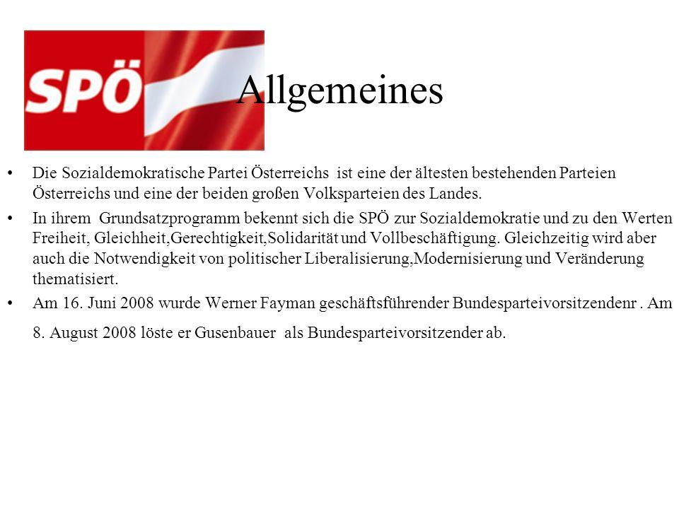 Allgemeines Die Sozialdemokratische Partei Österreichs ist eine der ältesten bestehenden Parteien Österreichs und eine der beiden großen Volksparteien des Landes.