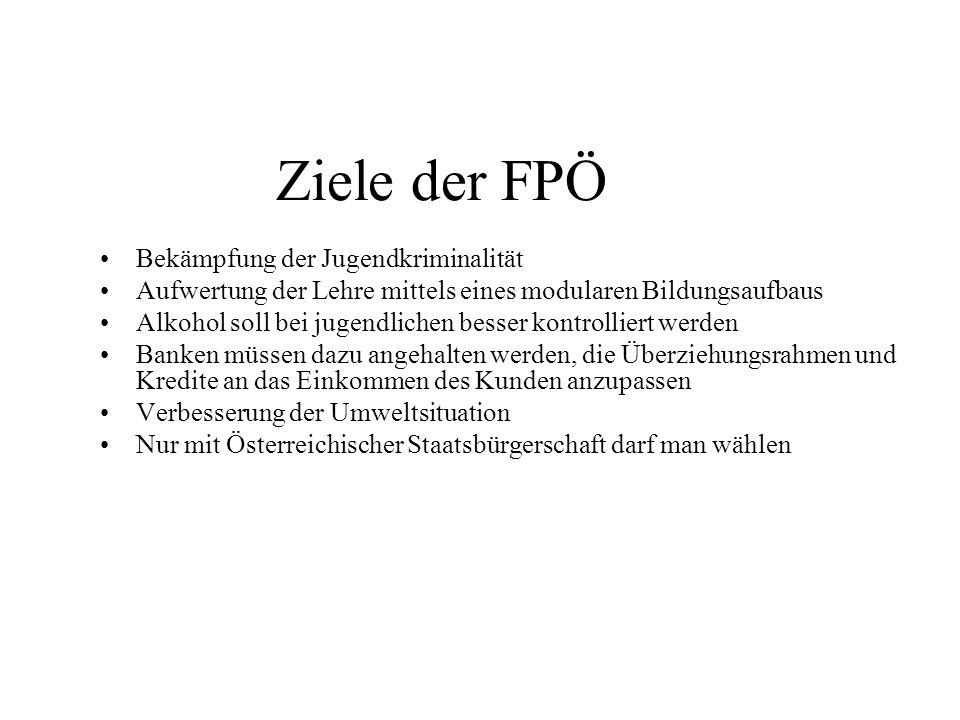 Ziele der FPÖ Bekämpfung der Jugendkriminalität Aufwertung der Lehre mittels eines modularen Bildungsaufbaus Alkohol soll bei jugendlichen besser kont