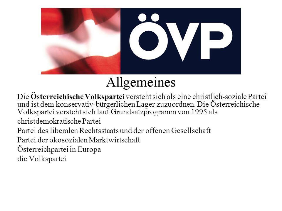 Allgemeines Die Österreichische Volkspartei versteht sich als eine christlich-soziale Partei und ist dem konservativ-bürgerlichen Lager zuzuordnen.