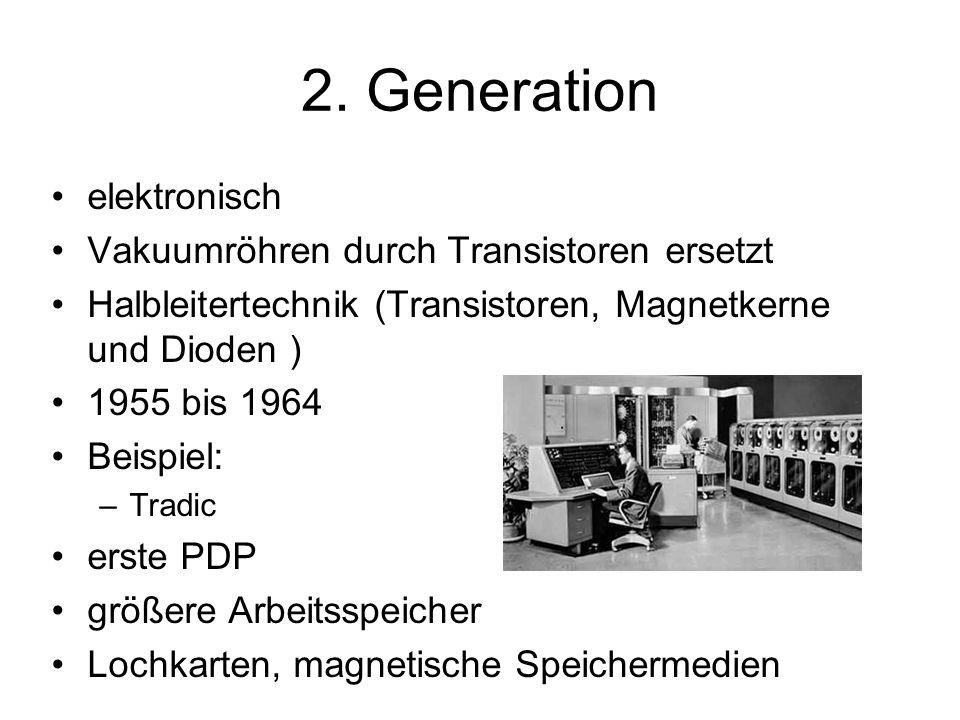2. Generation elektronisch Vakuumröhren durch Transistoren ersetzt Halbleitertechnik (Transistoren, Magnetkerne und Dioden ) 1955 bis 1964 Beispiel: –
