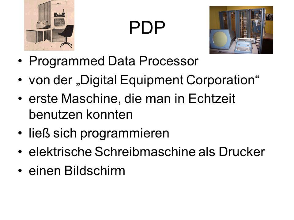 PDP Programmed Data Processor von der Digital Equipment Corporation erste Maschine, die man in Echtzeit benutzen konnten ließ sich programmieren elekt