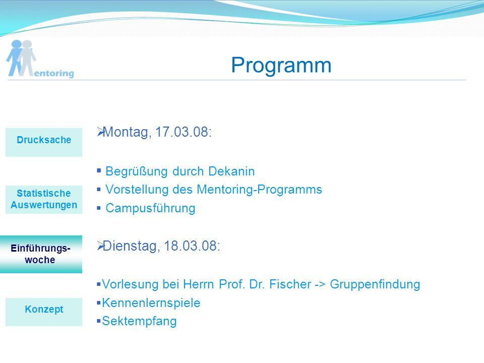Programm Montag, 17.03.08: Begrüßung durch Dekanin Vorstellung des Mentoring-Programms Campusführung Dienstag, 18.03.08: Vorlesung bei Herrn Prof. Dr.