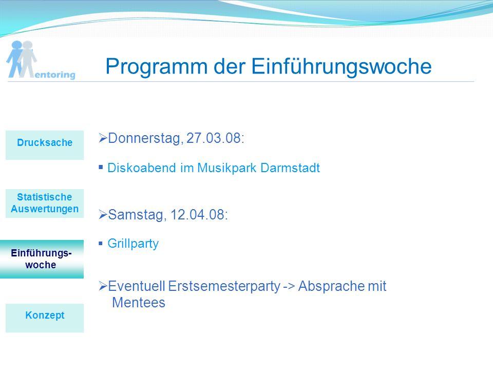 Programm der Einführungswoche Donnerstag, 27.03.08: Diskoabend im Musikpark Darmstadt Samstag, 12.04.08: Grillparty Eventuell Erstsemesterparty -> Abs