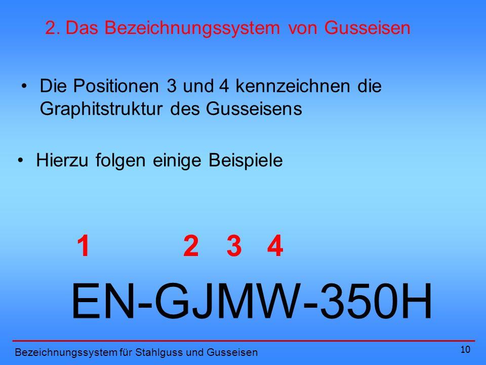 10 34 Die Positionen 3 und 4 kennzeichnen die Graphitstruktur des Gusseisens Hierzu folgen einige Beispiele Bezeichnungssystem für Stahlguss und Gusseisen 2.
