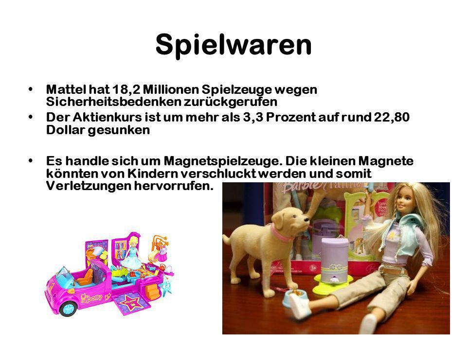 Spielwaren Mattel hat 18,2 Millionen Spielzeuge wegen Sicherheitsbedenken zurückgerufen Der Aktienkurs ist um mehr als 3,3 Prozent auf rund 22,80 Dollar gesunken Es handle sich um Magnetspielzeuge.