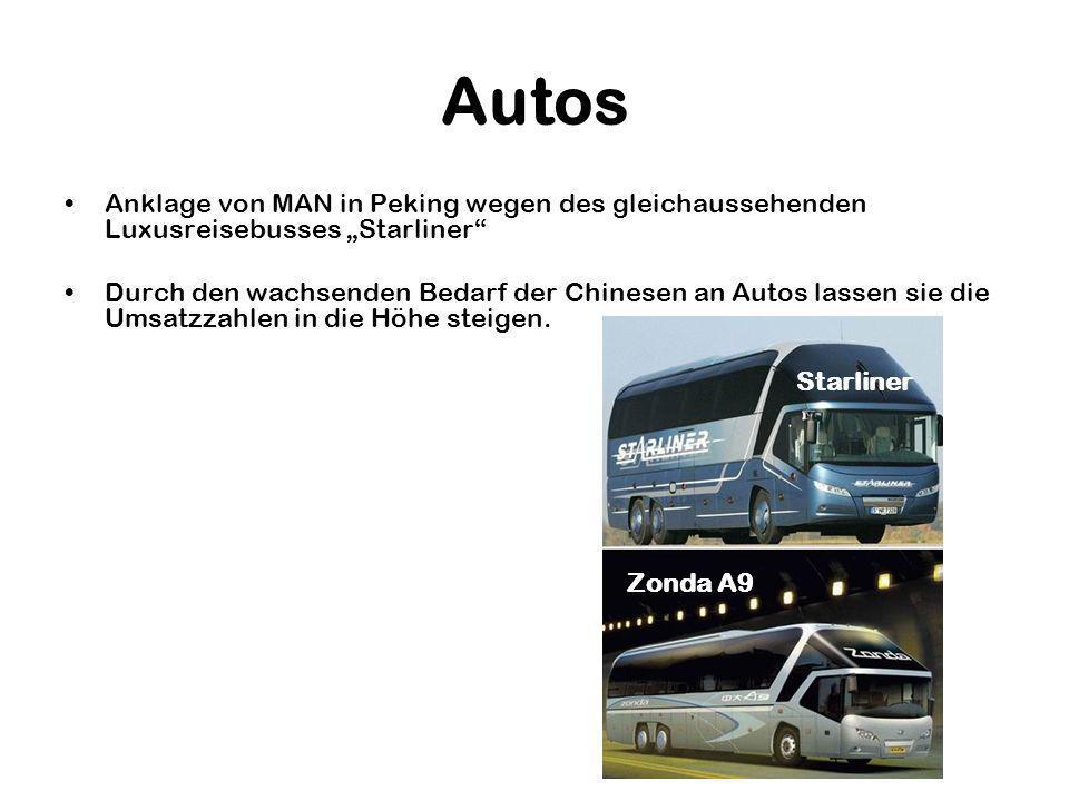 Autos Anklage von MAN in Peking wegen des gleichaussehenden Luxusreisebusses Starliner Durch den wachsenden Bedarf der Chinesen an Autos lassen sie die Umsatzzahlen in die Höhe steigen.