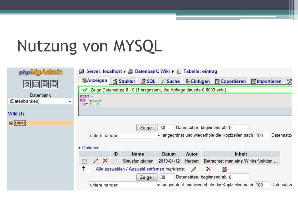 Nutzung von MYSQL
